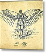 Icarus Flying Machine Patent Drawing-vintage Metal Print
