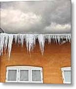Ice  - Frozen Ice From A Roof Metal Print