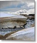 Ice Along River In Iceland Metal Print