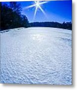 Ice And Snow Frozen Over Lake On Sunny Day Metal Print