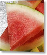 Ice Cold Watermelon Slices 1 Metal Print by Andee Design