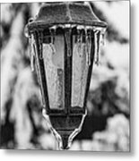 Ice Covered Lantern Metal Print