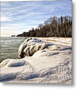 Ice Covered Shores Of Lake Michigan Metal Print