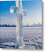 Ice Cross On The Frozen Dniepr Metal Print