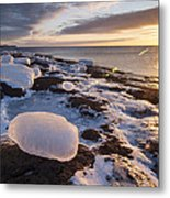 Ice Cubes And Sunrise Metal Print