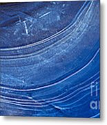 Ice Curve In Blue Metal Print