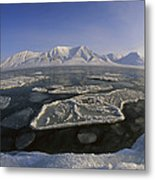 Ice Floes And Mountains Svalbard Norway Metal Print