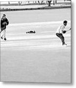 Ice Hockey - Black And White - Nostalgic Metal Print by Steve Ohlsen