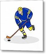 Ice Hockey Player Side With Stick Cartoon Metal Print