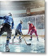 Ice Hockey Players In Action Metal Print
