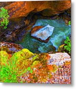 Ice In Canyon Metal Print