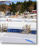 Planes On The Ice Runway In New Hampshire Metal Print