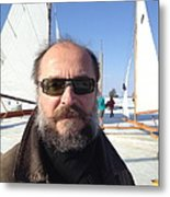 Ice Sailing On The Hudson Beard Contest Metal Print