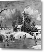 Ice Skating, 1880 Metal Print