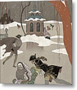 Ice Skating On The Frozen Lake Metal Print by Georges Barbier