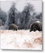 Ice Storm And Hay Bales In The Blue Rdige Mountains Metal Print