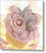 Iced Cup Cake With Sugared Pink Roses Metal Print
