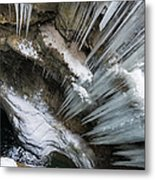 Icicles Hanging In Rocky Gorge In Cold Winter Metal Print
