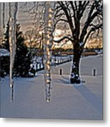 Icicles On The Canal Metal Print
