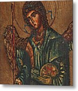 Icon Of Archangel Michael - Painting On The Wood Metal Print