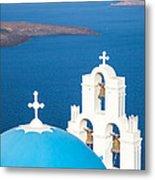 Iconic Blue Cupola Overlooking The Sea Santorini Greece Metal Print by Matteo Colombo