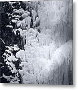 Icy Cliff - Black And White Metal Print
