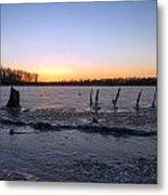 Icy Lake Sunset Metal Print