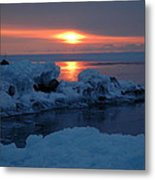 Icy Lake Superior Sunrise Metal Print by Sandra Updyke