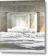 Icy Mississippi Bridge Metal Print