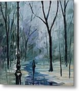 Icy Path - Palette Knife Oil Painting On Canvas By Leonid Afremov Metal Print