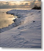 Icy Patterns On The Snow - A Lake Shore Morning Metal Print