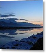 Icy Sunset Reflection Metal Print