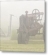 Idle Tractor In Fog Metal Print
