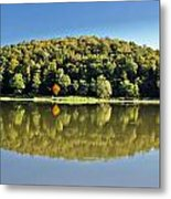 Idyllic Autumn Reflections On Lake Surface Metal Print
