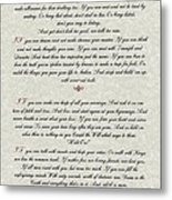 If By Rudyard Kipling Typography On Parchment Metal Print