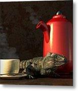 Iguana Coffee Metal Print