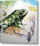 Iguana On Beach Metal Print