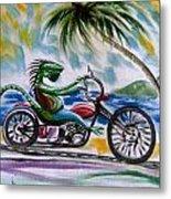 Iguana Rider Metal Print