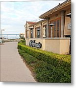 Il Fornaio Italian Restaurant In Coronado California Overlooking The San Diego Coronado Bridge 5d243 Metal Print by Wingsdomain Art and Photography