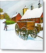 Illinois Farm With Barn In Winter Metal Print