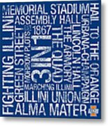 Illinois College Colors Subway Art Metal Print by Replay Photos