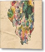 Illinois Map Vintage Watercolor Metal Print