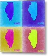 Illinois Pop Art Map 2 Metal Print