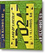 Illinois State Name License Plate Art Metal Print