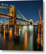 Illuminated Brooklyn Bridge By Night Metal Print