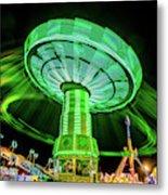 Illuminated Fair Ride With Blurred Neon Metal Print