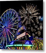 Illuminated Ferris Wheel With Neon Metal Print
