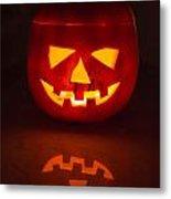 Illuminated Halloween Pumpkin Metal Print