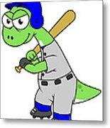Illustration Of A Brontosaurus Baseball Metal Print