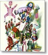Illustration Of A Group Of Children's Toys Metal Print
